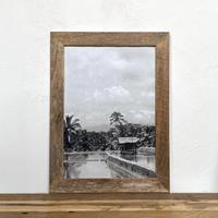 Bali「モノトーン 風景写真」 A4 モノクロポスター & 木製 ポスターフレーム 壁掛け