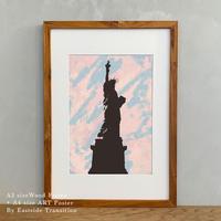 A4サイズ ポスターアート + A3サイズ額縁 ニューヨーク 自由の女神 The Statue of Liberty Pt. 01