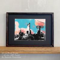 ポスターアート A4サイズ + A3サイズ額縁 ニューヨーク ブルックリン ONE WAY OF Brooklyn