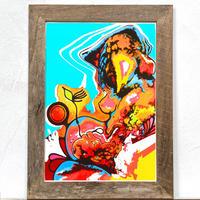 Pregnant「グラフィック」A4  ポスター + アンティーク 木製 フレーム
