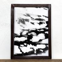 「モノクロアート Mono.5」A4 モノトーン ポスター & 木製 アンティーク 額縁 セット
