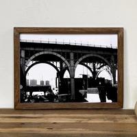 「モノクロアート Bridge」A4 モノトーン ポスター & 木製 アンティーク 額縁 セット