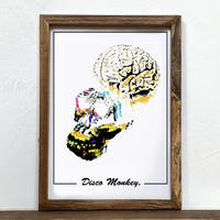 Disco Monkey 「グラフィック」A4  ポスター + アンティーク ウッド フレーム