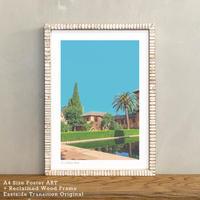 ポスター インテリア A4 + 額縁 アンティーク 古材 「 Sky Garden 」It's all about Spain No.17