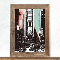 古材フレーム + A4 プリント ポスター 壁掛け アート 【 ニューヨーク Ambivalent no.1 】