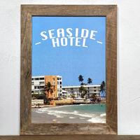 SEASIDE HOTEL「西海岸 グラフィック」 A4 ポスター & 古材 ポスターフレーム 壁掛け