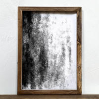 「モノクロアート Mono.1」A4 モノトーン ポスター & 木製 アンティーク 額縁 セット