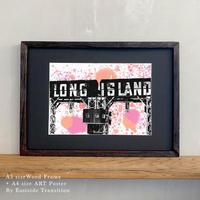 ポスターアート A4サイズ + A3サイズ額縁 ニューヨーク LONG ISLAND