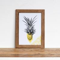 「Pineapple」グラフィック A4 ポスター + 古材 フレーム セット商品