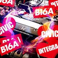 B16A RED STICKER  - ステッカー / JDM USDM カスタム シビック CIVIC インテグラ INTEGRA CR-X