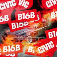 B16B RED STICKER  - ステッカー / JDM USDM カスタム シビック CIVIC EK9