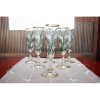 【アンティーク洋食器】【ボヘミアガラス】【アールヌーボー】金彩ボヘミアシャンパングラスセット