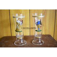 【アンティーク洋食器】【ドイツガラス】ハンドペイント 王族のペアグラス