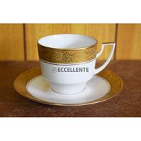 【ヴィンテージ洋食器】【ピルケン・ハンマー】ゴールド型押しコーヒーカップ&ソーサー