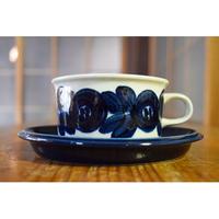 【北欧ヴィンテージ】【アラビア】【ウラ・プロコペ】アネモネ ティーカップ&ソーサー(ブルー)②
