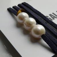 天然パール付 レザーブレスレット Made in Paris ホワイト パール3つタイプ ・ ネイビーカラー