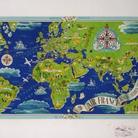 Air France(エール フランス) 地球地図ポスター Lucien Boucher