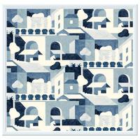 Hermès(エルメス)壁紙 額装☆パネル作成用 モデル:SUR LES TOITS☆サイズ:68.5X114CM