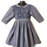女の子用 ハンドメイドスモッキング刺繍ワンピース 3歳サイズ★ブルー