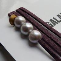 天然パール付 レザーブレスレット Made in Paris グレー パール3つタイプ ・ パープルカラー