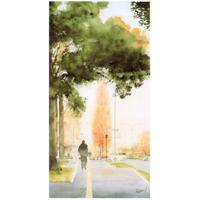 【水彩画 伊藤鉄平作】散歩道(歩道)