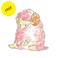 羊イラスト  ピンク
