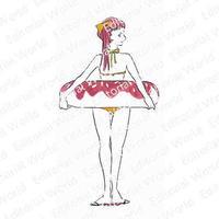 ピンクの髪の水着の女性のイラスト swimwear-girl03