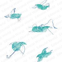 水彩画の鳥や山イラスト5点セット