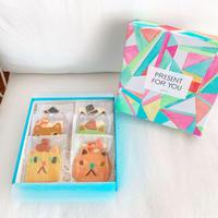 メッセージクッキー付き 6枚ネコBOX(ネコ6枚、ギフトボックス入)