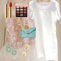 F size【定価7,900円】透け感ドレス Summerワンピース × リップ or グロス