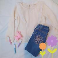 110 size 【春物♪】フリルニット × 花柄刺繍ジーンズ/ リフレッシュ品