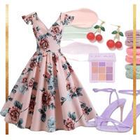 各XL / 3L / 4L 【大人気セット♡】ピンナップPINK❤花柄ドレス × 貼るジェルネイル