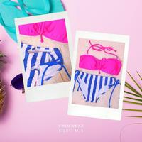 【大人気☆】大人のネオンボーダー水着 /pinkblue (M/S)