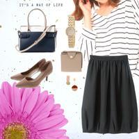 3L size【春まで使える♪】ボーダーと大人のフレアスカート style