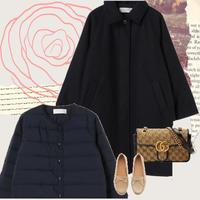 【S~XLまで着れる♡】SET2点★ コート+中綿インナーコート (ネイビー)