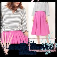 LL~3L 限定♡ 【大人pink】襟デザインカットソー  × フレアスカート