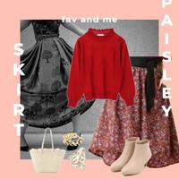 M size【3点セット♡】ペイズリー柄ふんわりスカート × ネックフリルニット × ベルト