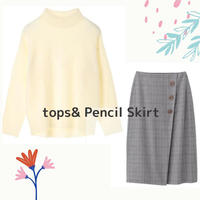 size L~XL【雑誌掲載♬】アイボリーニット×タイトスカートで大人の秋コーデ♡