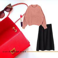 サイズ S~M【雑誌掲載】華やかニット × ラップひざ丈スカート 2点style