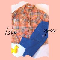 90 size 【春物♪】チェックシャツ × ジーンズ風スウェットパンツ/ リフレッシュ品