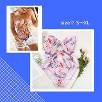 【S~XL】大人の花柄ピンク♡水着 (バック付き)