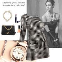 M~L size【2020春夏♪】千鳥柄 classic dress × ラインストーン腕時計