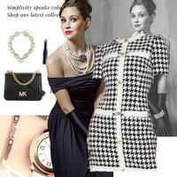 各M~L/ L~XL size ★千鳥柄 classic dress × ラインストーン腕時計