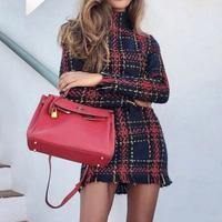 Red tweed dress