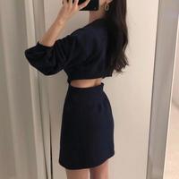 【3colour】Back opening Trainer skirt