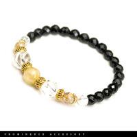 【天然石 | ゴールドルチルクォーツ・オニキス・水晶ブレスレット-01】繁栄・金運・財運・魔除け