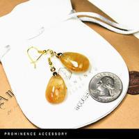 SALE【天然石 | ゴールドルチルクオーツ・ドロップピアス】守護・幸運・財運・金運・繁栄