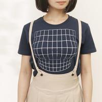 妄想マッピングTシャツ/ Illusion grid/ Night blue