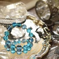 ブルー2色★アンダラクリスタルのブレスレット(インドネシア産)