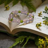 ピンクオパールと黄緑★アンダラクリスタルのブレスレット(インドネシア産)